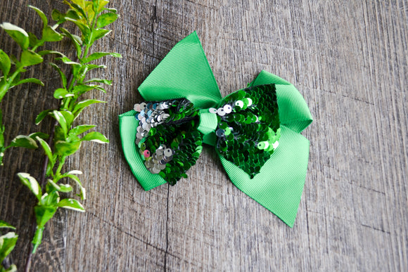 5 Inch Mermaid Sequin Bow - Green with Silver - Dream Lily Designs