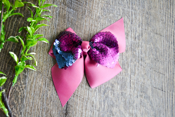 5 Inch Mermaid Sequin Bow - Dark Dusty Rose with Navy Blue - Dream Lily Designs