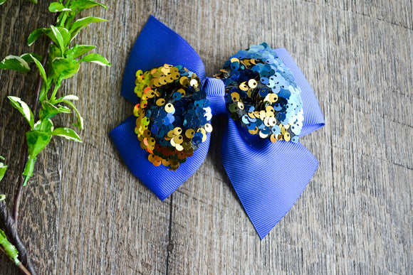 5 Inch Mermaid Sequin Bow - Royal Blue with Gold - Dream Lily Designs