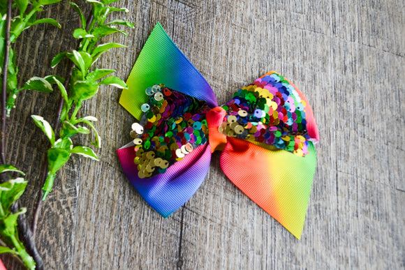 5 Inch Mermaid Sequin Bow - Rainbow with Gold - Dream Lily Designs