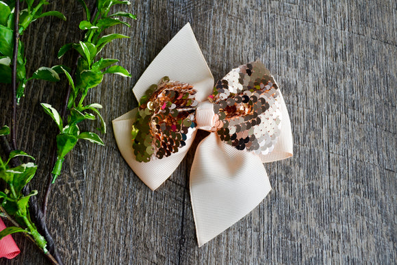 5 Inch Mermaid Sequin Bow - Cream with Rose Gold - Dream Lily Designs