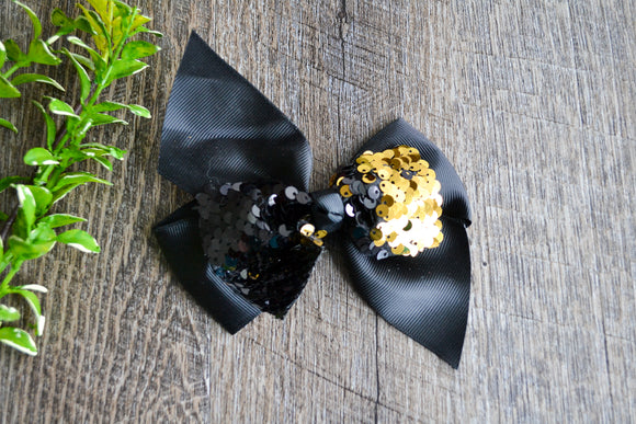 5 Inch Mermaid Sequin Bow - Black with Gold - Dream Lily Designs