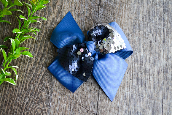 5 Inch Mermaid Sequin Bow - Navy with Silver - Dream Lily Designs