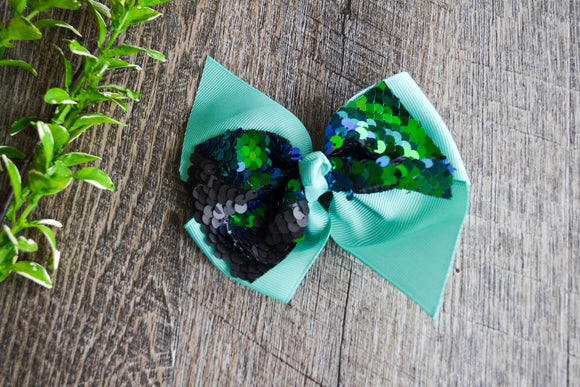 5 Inch Mermaid Sequin Bow - Aqua with Black Green - Dream Lily Designs
