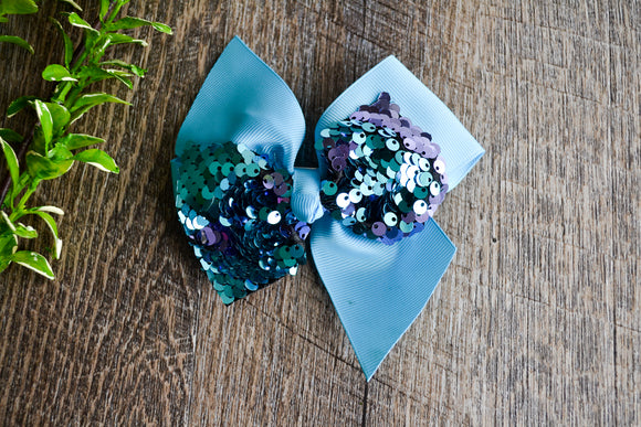 5 Inch Mermaid Sequin Bow - Light Blue with Purple Teal - Dream Lily Designs