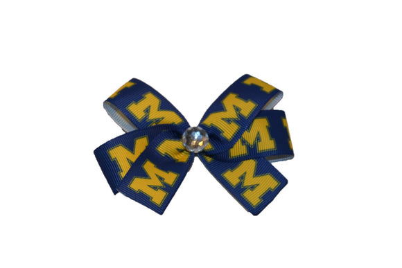 Blue Yellow Michigan Wolverine Bow (Sports Teams) - Dream Lily Designs