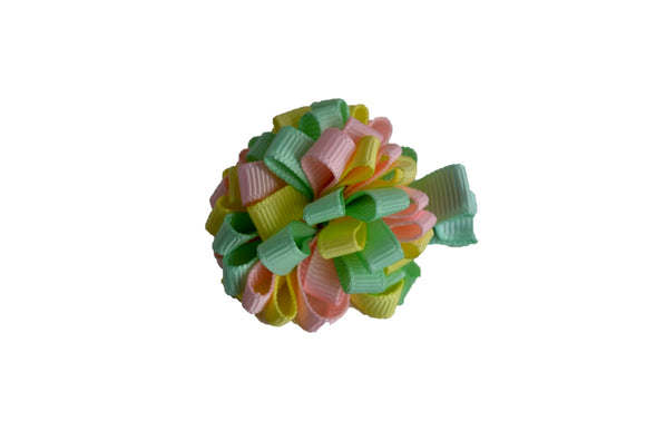 Mini Loop Ribbon Hair Bow - Pink Mint Yellow - Dream Lily Designs