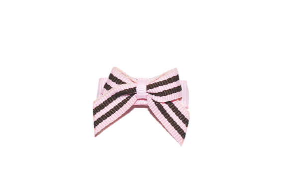 Pink and Brown Stripes Baby Snap Clip