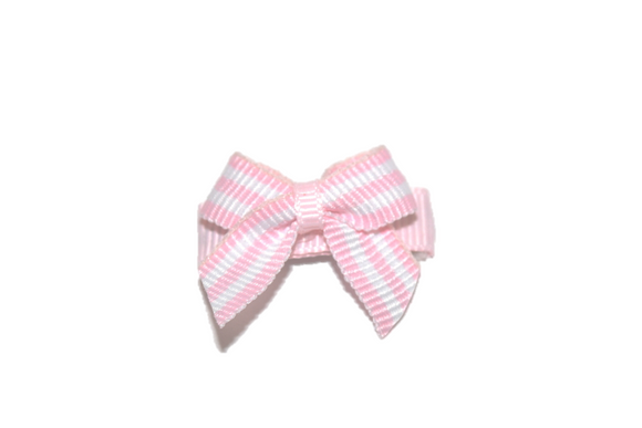 White and Pink Stripes Baby Snap Clip