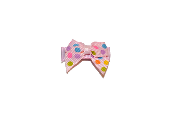 Light Pink and Colorful Polka Dot Baby Snap Clip