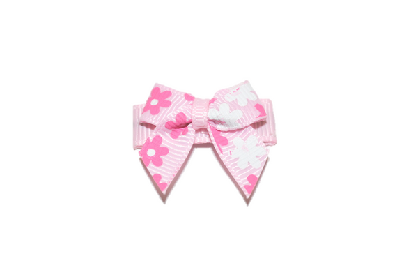 Pink and White Flowers Baby Snap Clip