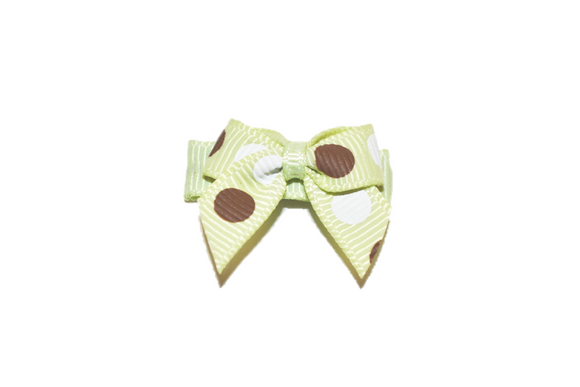 Light Green Brown White Polka Dots Baby Snap Clip - Dream Lily Designs