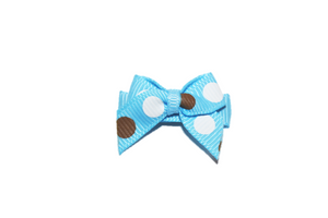 Blue Brown White Polka Dot Baby Snap Clip