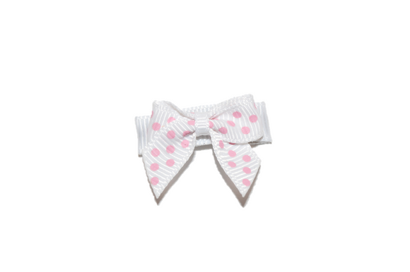 White Pink Polka Dot Baby Snap Clip - Dream Lily Designs