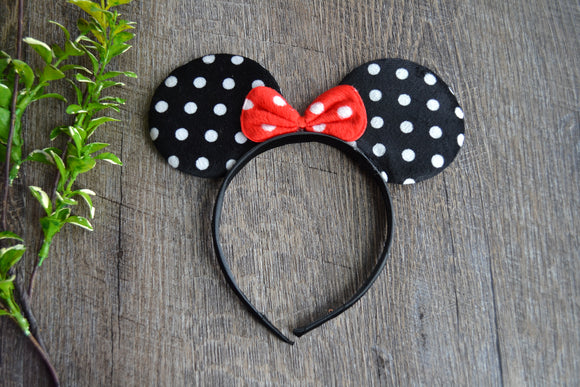 Black Polka Dot Minnie Ears with Red Polka Dot Bow - Dream Lily Designs