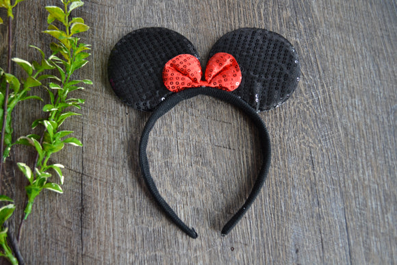 Black Sequin Minnie Ears with Red Sequin Bow - Dream Lily Designs