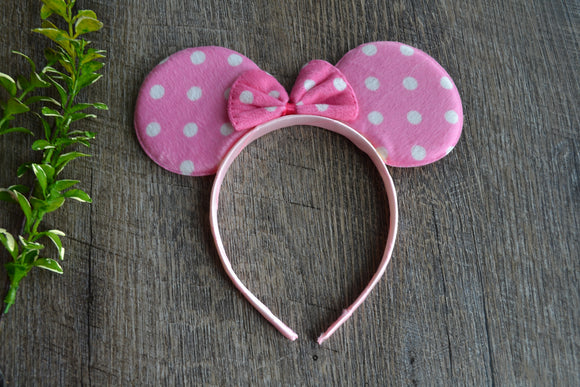 Pink Polka Dot Minnie Ears with Pink Polka Dot Bow - Dream Lily Designs