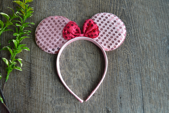 Light Pink Sequin Minnie Ears with Hot Pink Large Sequin Bow - Dream Lily Designs