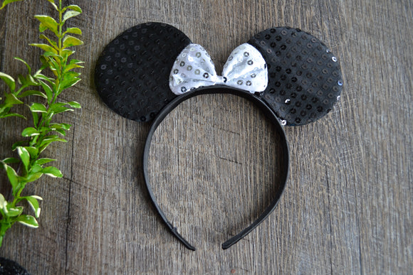 Black Sequin Minnie Ears with White Large Sequin Bow - Dream Lily Designs