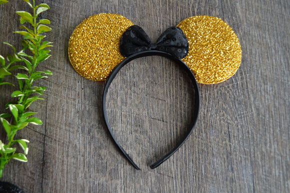 Gold Crinkel Fabric Minnie Ears with Black Sequin Bow - Dream Lily Designs