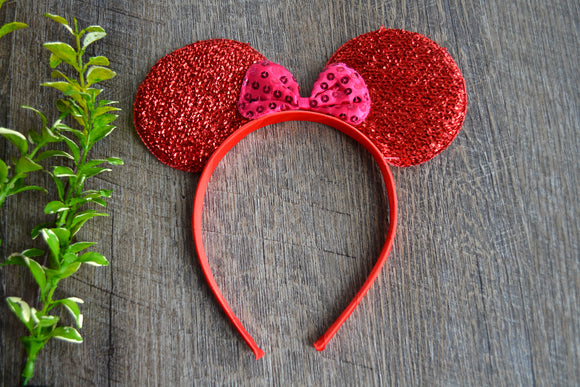 Red Crinkel Fabric Minnie Ears with Hot Pink Sequin Bow - Dream Lily Designs