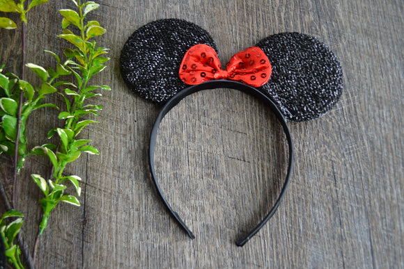 Black Crinkel Fabric Minnie Ears with Red Large Sequin Bow - Dream Lily Designs