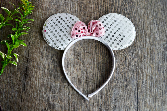 White Sequin Minnie Ears with Light Pink Sequin Bow - Dream Lily Designs
