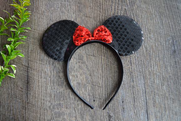 Black Sequin Minnie Ears with Red Large Sequin Bow - Dream Lily Designs