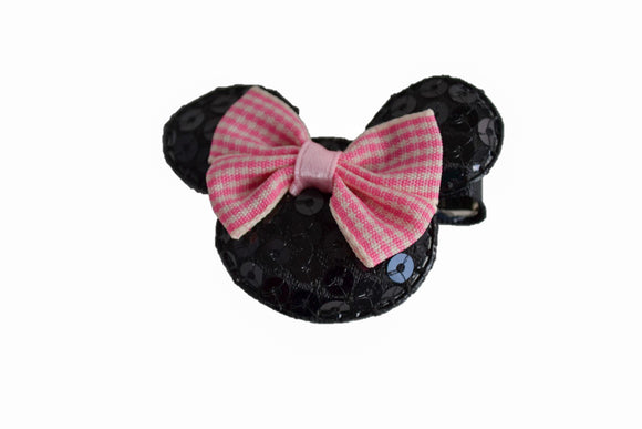 Minnie Mouse Sequin Hair Clip with Plaid Pink Bow - Dream Lily Designs