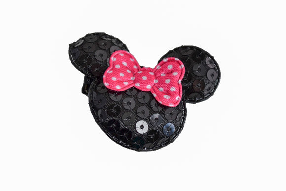 Minnie Mouse Sequin Hair Clip with Hot Pink Polka Dot Bow - Dream Lily Designs