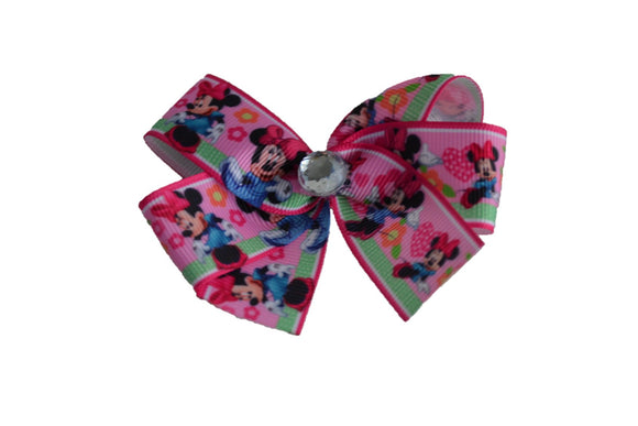 Bubblegum Pink Green Ribbon Minnie Bow (Minnie) - Dream Lily Designs