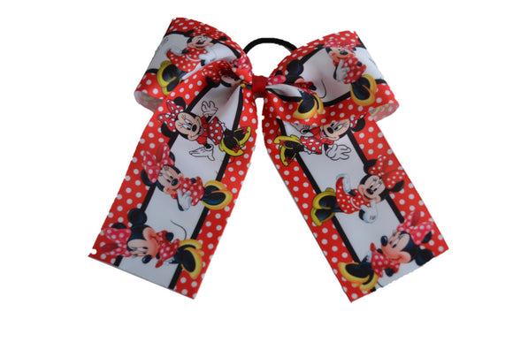 Minnie Mouse Disney Pattern Ribbon Cheer Bow - Dream Lily Designs