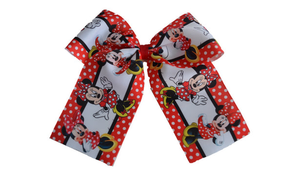Minnie Mouse Disney Pattern Ribbon Cheer Bow with Clip - Dream Lily Designs