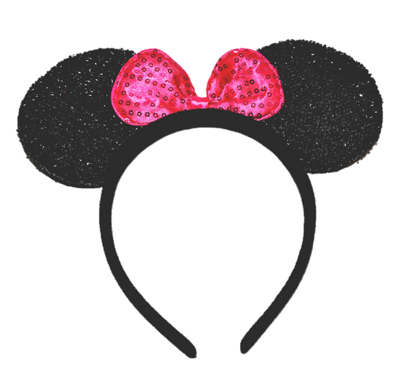 Black Minnie Ears with Pink Sequin Bow - Dream Lily Designs