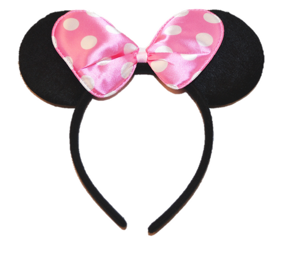 Black Minnie Ears with Pink Polka Dot Bow