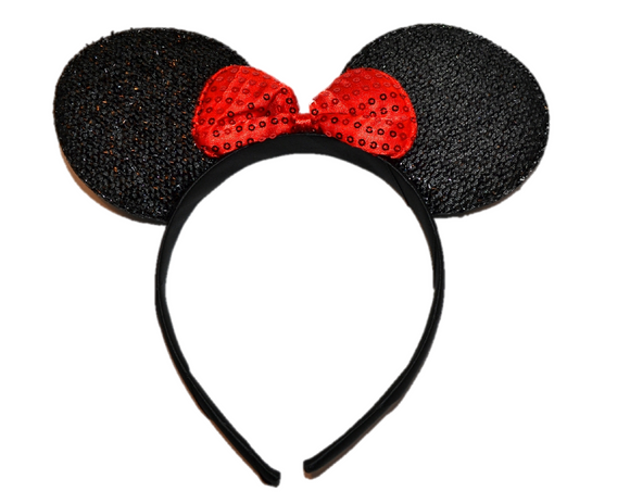 Black Minnie Ears with Red Sequin Bow