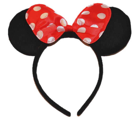 Black Minnie Ears with Red Polka Dot Bow