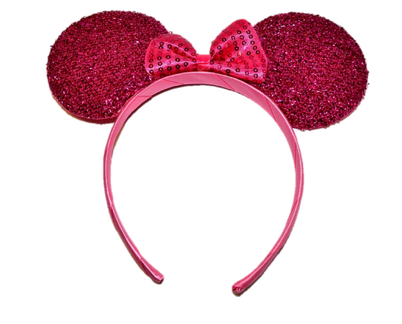 Hot Pink Minnie Ears with Hot Pink Sequin Bow