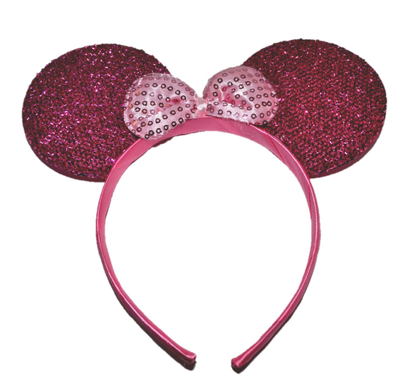 Hot Pink Minnie Ears with Light Pink Sequin Bow