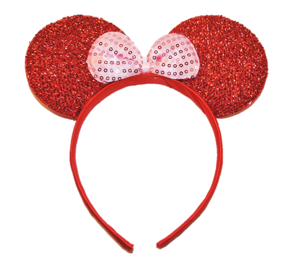 Red Minnie Ears with Light Pink Sequin Bow