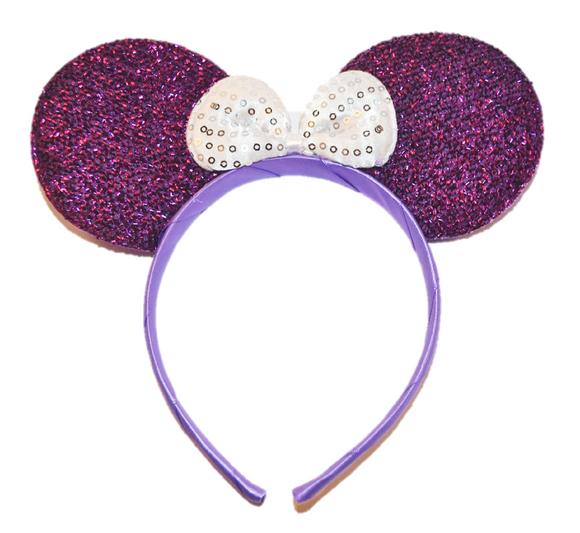 Purple Minnie Ears with White Sequin Bow