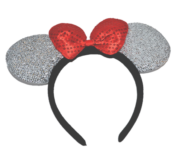 Silver Minnie Ears with Red Sequin Bow