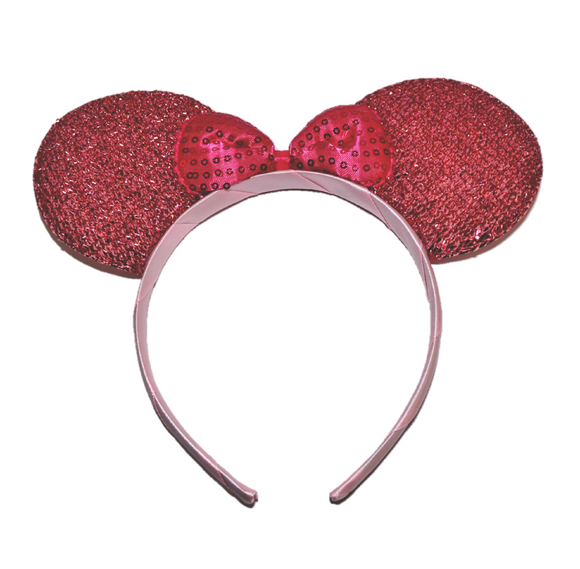 Pink Minnie Ears with Hot Pink Sequin Bow
