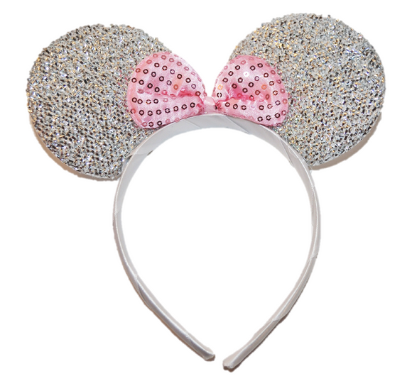 Silver Minnie Ears with Pink Sequin Bow