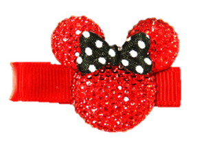 Red Pink Minnie Mouse Rhinestone Hair Clip with Black Bow - Dream Lily Designs