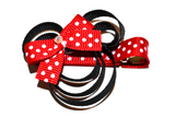 Minnie Mouse Ribbon Sculpture Hair Clip - Minnie with Red Bow - Dream Lily Designs