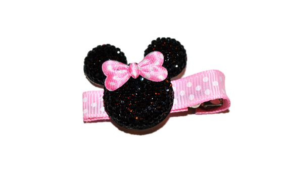 Black Minnie Mouse Rhinestone Hair Clip with Light Pink Polka Dot Bow - Dream Lily Designs