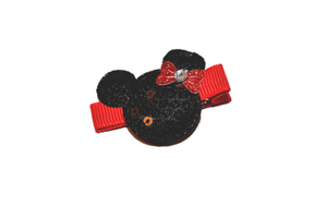 Mini Black Minnie Mouse Sequin Hair Clip with Red Bow - Dream Lily Designs