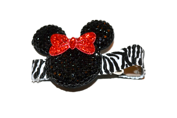 Black Zebra Minnie Mouse Rhinestone Hair Clip with Red Bow - Dream Lily Designs