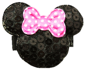 Minnie Mouse Sequin Hair Clip with Bubblegum Pink Polka Dot Bow - Dream Lily Designs